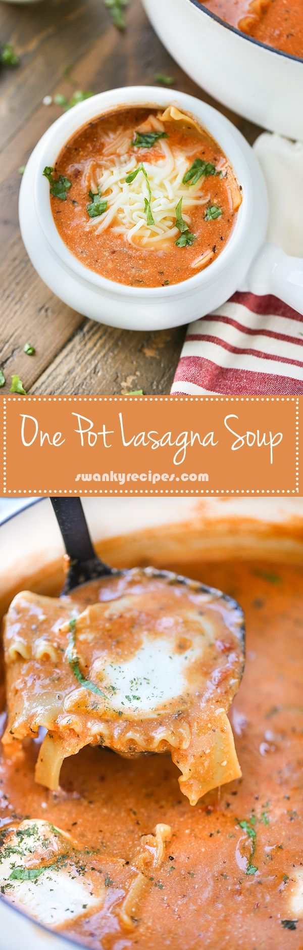 One Pot Lasagna Soup - Easy vegetarian soup with spinach and cheese. This recipe is a must!
