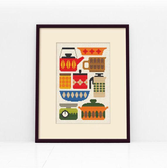 Retro Kitchen Cross Stitch Pattern Digital Format  by Stitchrovia,
