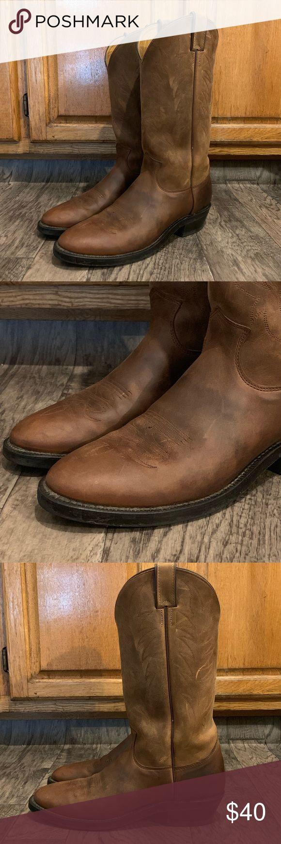 Justin Boots Botas ocidentais de caubói Tamanho 10,5 B EUC Excelente condição de propriedade! …
