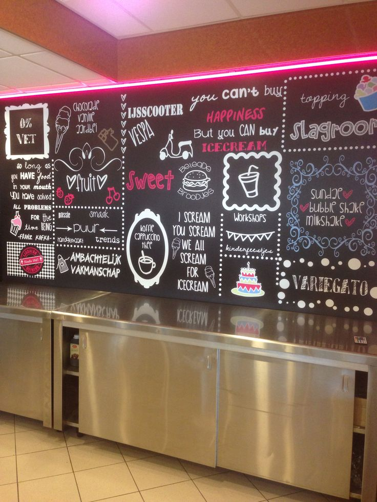 Krijtbord in de ijssalon. Chalkboard gelateria