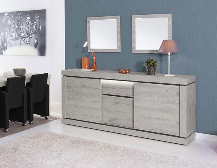 Buffet contemporain couleur chêne gris et noir PASADENA