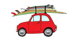 Kevin Butler draws Rad cars with surf boards: 1960 Fiat 500 & 2 Logs, 2 Hulls, 2 Fishes, 1 Mini Simm, and a T thruster (circa 1981)