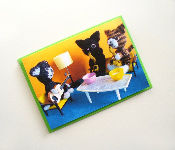 Amigurumi card  crochet jazz cats by Poppeteers on Etsy