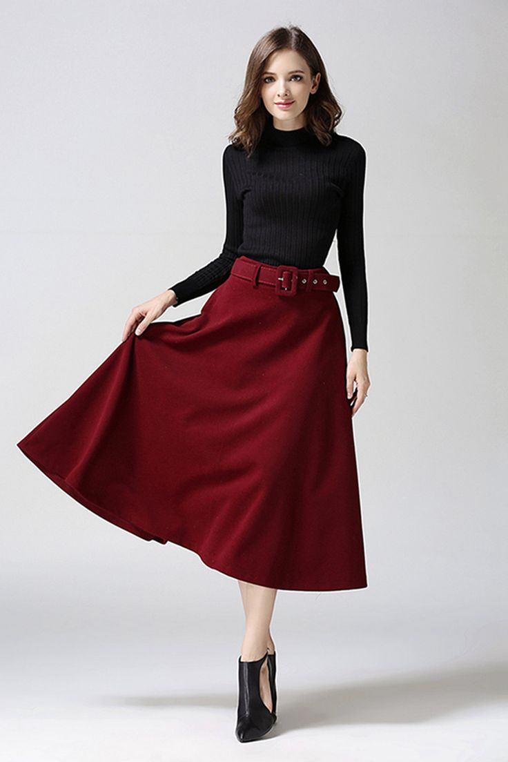 2016 autumn and winter new style big woolen skirt, Casual and comfortable skirt,black, grey, tan, ruby skirt, free shipping