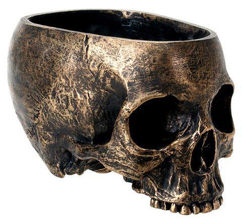 Bronze Skull Planter