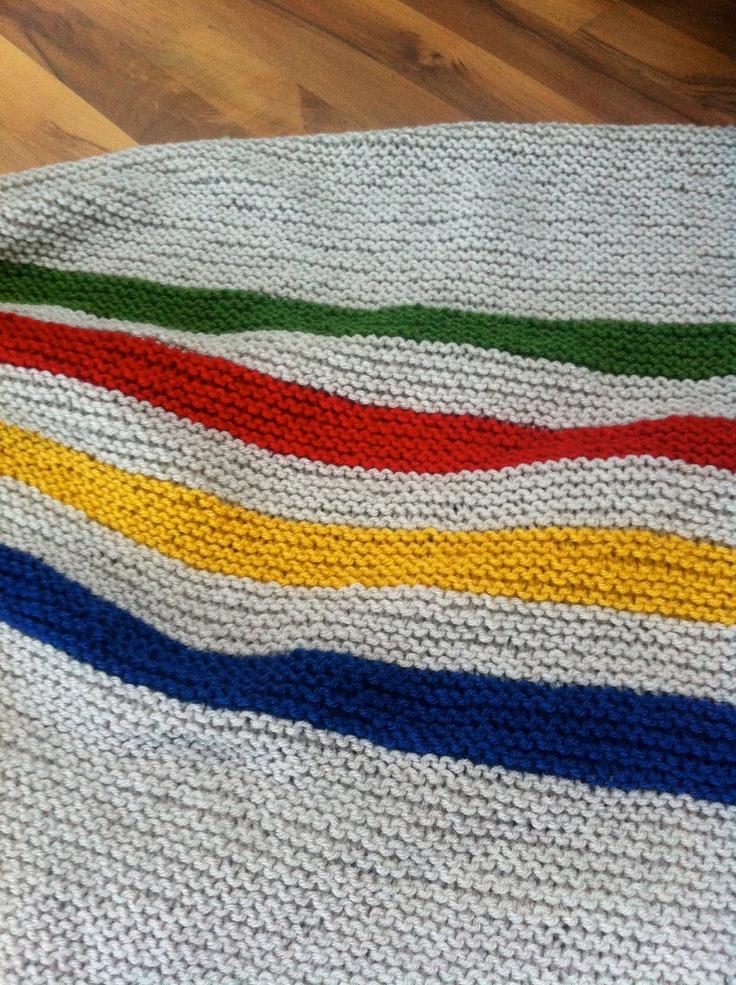 Hudson Bay Inspired Hand Knit Baby Blanket