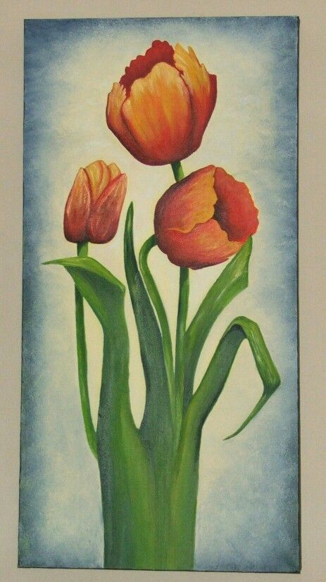 "Orange Tulips ""Oil on boxed canvas"""