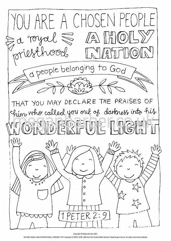 Holy Bible Coloring Page 1 Peter 2 9 Colouring Sheet Bible Verse Coloring Peter Bible 1 Peter