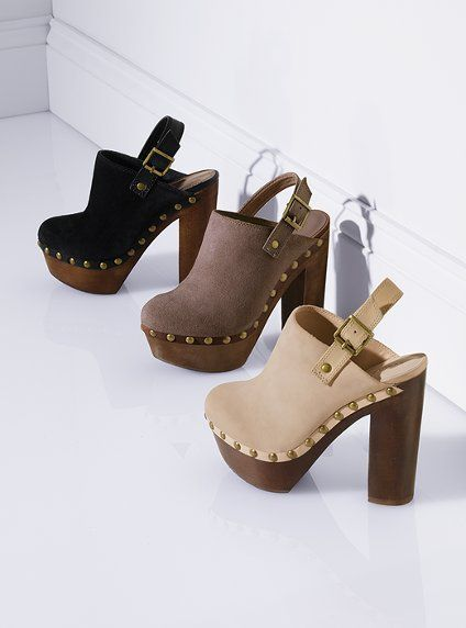 Colin Stuart created a new line of old fashion sabots. These shoes have a wooden base just like the sabots with a light heel. Instead of using them for the working class though, these are just for fashion.