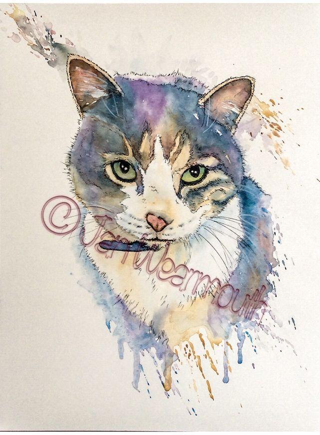 Custom Pet Portrait In Watercolour Pen Ink Cat Painting