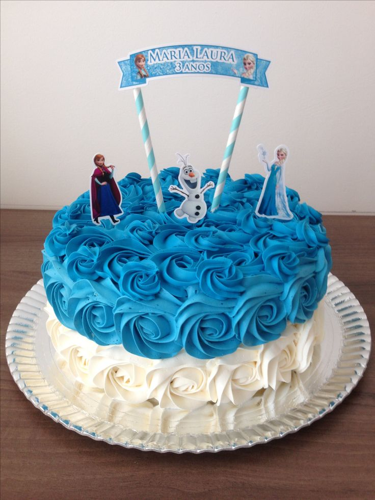 Bolo Frozen! #frozen #bolofrozen #rosettecake #bolodeflores