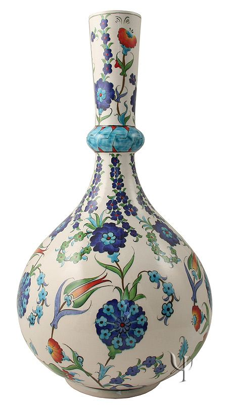 Iznik Design Ceramic Vase - Lale and Karanfil yurdan.com