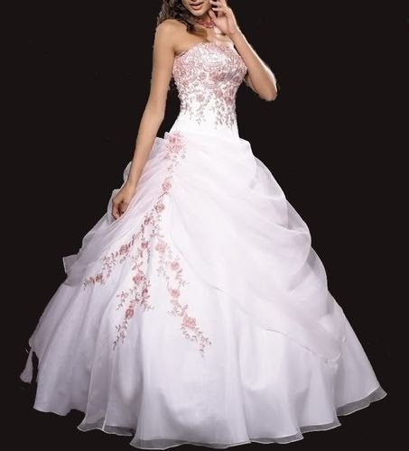 Divine Robe De Mariée/mariage/gala/cocktail Blanche/rose