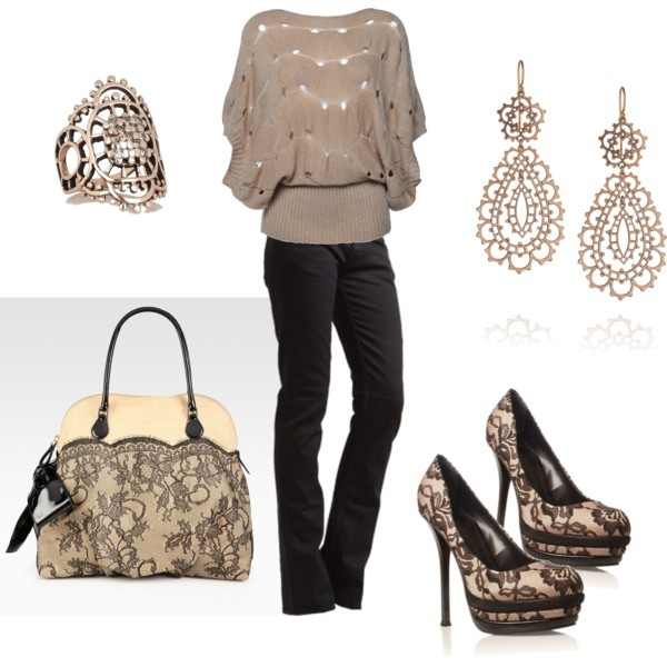 lovely with a little lace, created by shauna-rogers.polyvore.com: Black Lace, Date Night, Shoes, Clothing 2000, Dreams Closet, Date Outfits, Cute Outfits, Heels, My Style