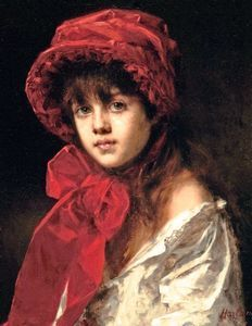 Alexei Alexeievich Harlamoff - Girl in a Red Hat
