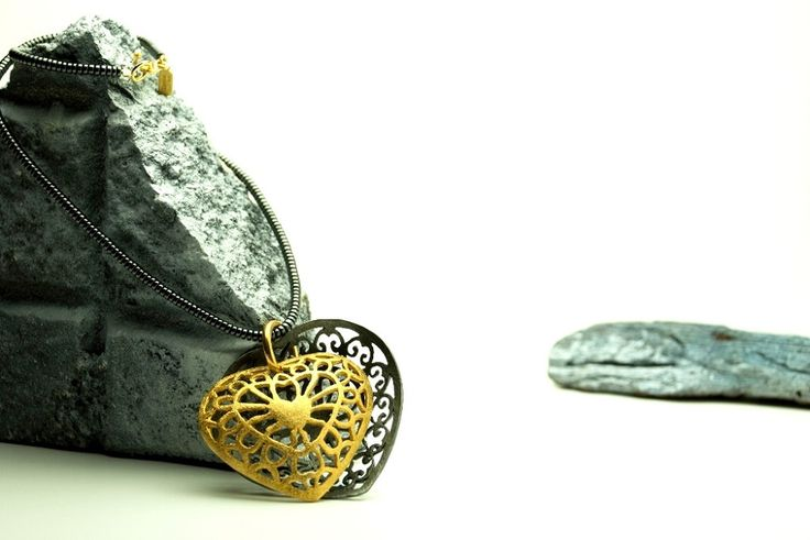 https://flic.kr/p/CMx8ex | Sculptural Artistic Statement Pendant - Lace work creations - | Together Heart - sterling silver, gold and rhodium plating, hematite beads
