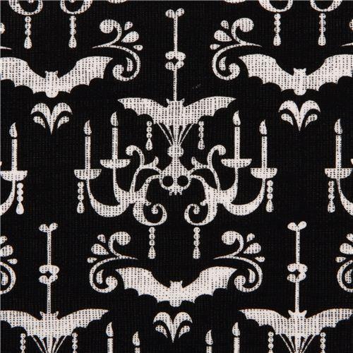 black Michael Miller Halloween fabric with chandelier #Halloween fabrics