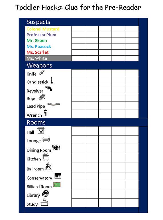 Printable Clue Score Card For The Pre Reader Etsy In 2021 Clue Games Clue Board Game Clue