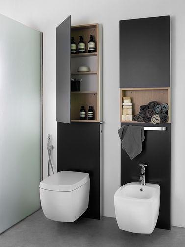 Die besten 17 bilder zu geberit monolith auf pinterest quasten toiletten und london - Deco wc zwart ...