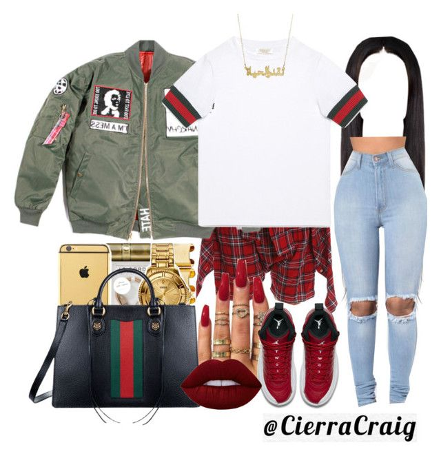 """Gucci"" by cierracraig ❤ liked on Polyvore featuring R13, Gucci, NIKE and Lime Crime"