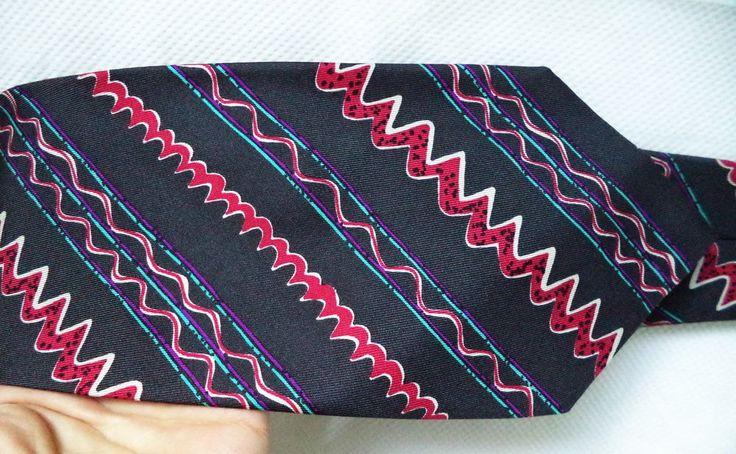 Christian Lacroix Silk Italy Multi abstract Art Berry Vintage 90s necktie tie