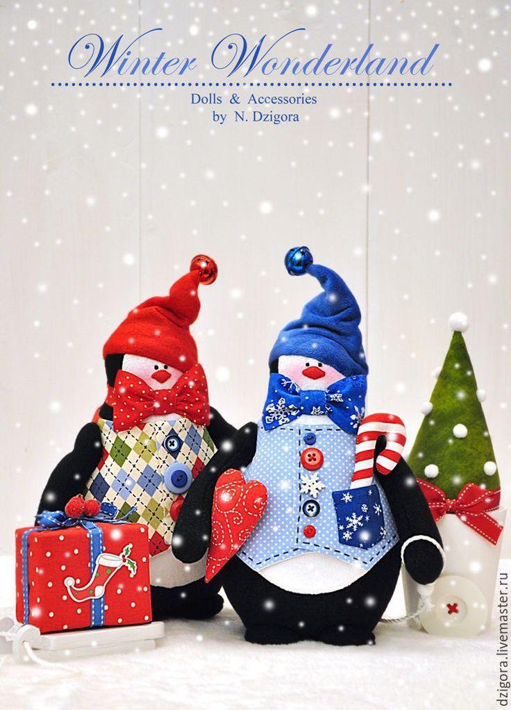 Купить Эник и Бэник - приятели пингвины. Новогодний подарок - ярко-красный, пингвины, пингвин, пингвинчик