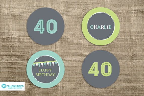 40th Birthday Cupcake Toppers  over the hill by EllisonReed, $12.00