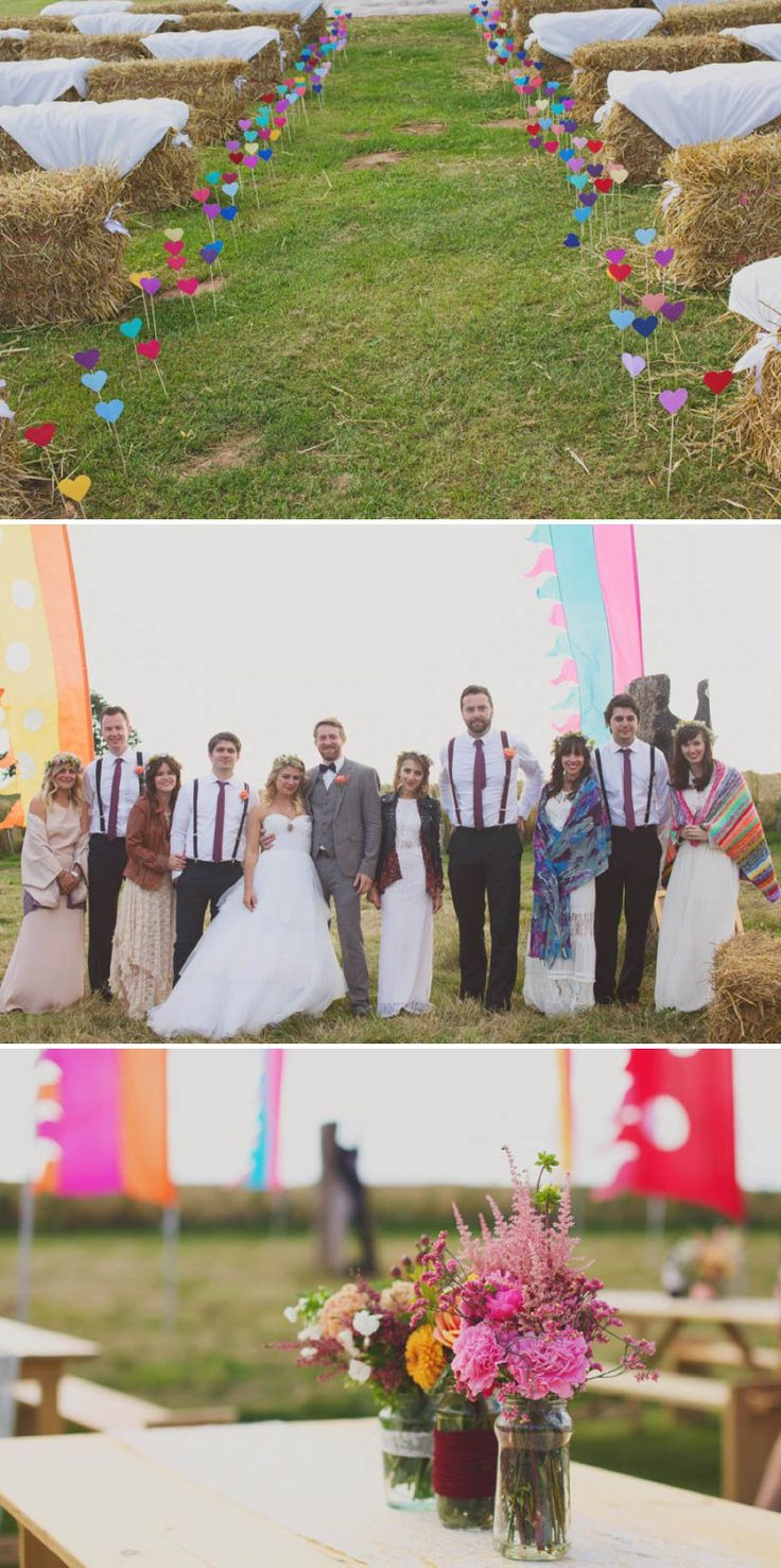 A Glastonbury Themed Bohemian Wedding In Worcestershire With Yurts Glamping Food Vans And A Bonfire And Bride In A Floral Crown With Images ...