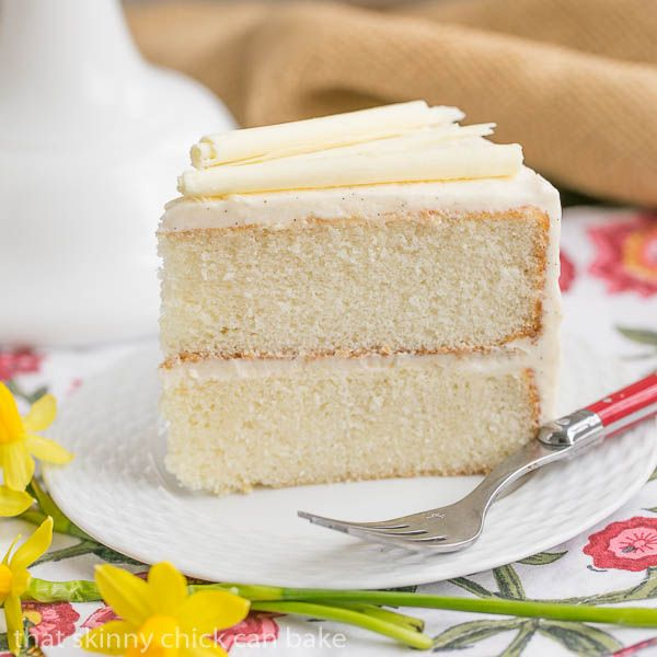 MOST popular recipes of 2015, including this White Birthday Cake | An exquisite white cake with vanilla bean buttercream @lizzydo thatskinnychickcanbake.com
