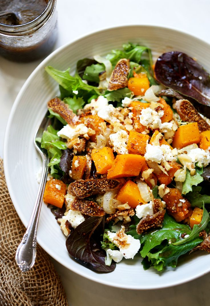 Roasted Onion, Squash & Fig Salad with Maple Mustard Balsamic Dressing  | Yummy Beet