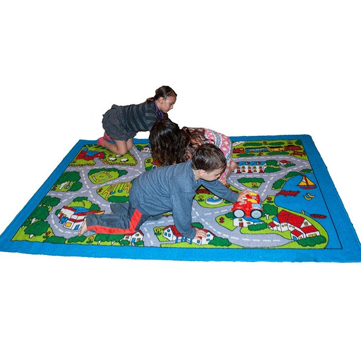 Kids Rug Street Map In Grey 5 X 7 Children Area Rug   Non Skid Gel