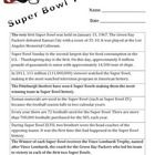 Answer questions about the Super Bowl using information in a chart (table).    Make learning fun!   This is a fun way to locate information in a ch...