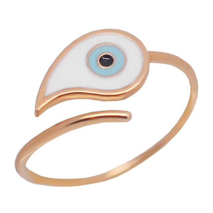 Δ590P- Ροζ χρυσό δαχτυλίδι με επισμαλτωμένο μάτι