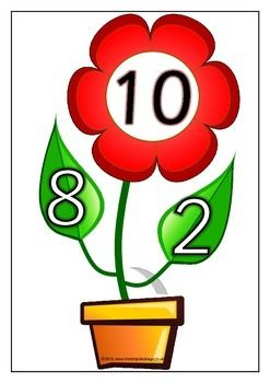 With a prompting title page, here is a set of 12 printables showing the number bonds that make 10. Each page shows a number bond with a flower and leaves. Will catch the students' attention! Visit our TpT store for more information and for other classroom display resources by clicking on the provided links.
