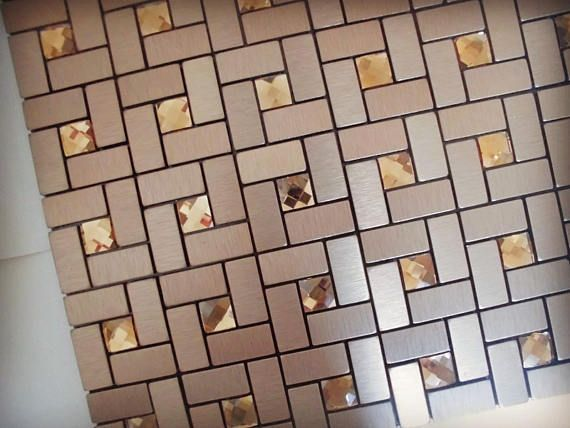 11 Sheets Gold Silver Rose Gold Peel And Stick Tile 11 4 X11 4 Sheet Brushed Aluminum Foil Mix Glass Rhinestone Mosaic Adhesive Wall Tiles Stick On Tiles Peel And Stick Tile Easy Tile