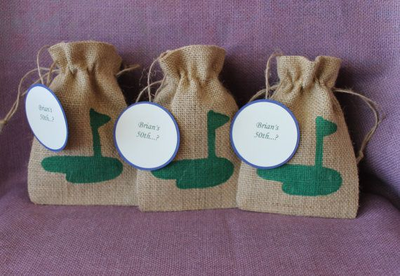 Burlap Rustic golf party favor bags with tags.  Small 5 x 7 burlap golf bags.  Party, wedding, shower, favor bags.  Custom bags. Bachelor
