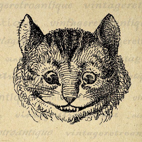 Alice in Wonderland Cheshire Cat Digital Image Graphic Illustration Printable Download Vintage Clip Art Jpg Png Eps 18x18 HQ 300dpi No.1470 @ vintageretroantique.etsy.com #DigitalArt #Printable #Art #VintageRetroAntique #Digital #Clipart #Download