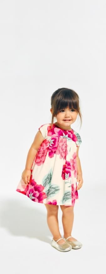 Geranium inspiration Shop Tea Collection's Cassie Sateen Baby Dress.