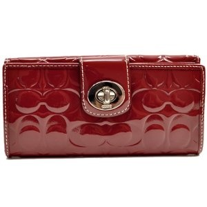 Authentic Coach Patent Leather Embossed Signature Turnlock Wallet Purse 43583 Crimson Arel Handbag In 2018 Pinterest Purses