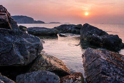 Pedra, Praia, Pôr Do Sol, Yantai
