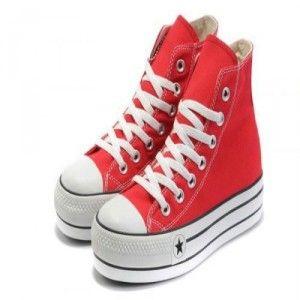 converse online outlet y0a6  Cl谩sico Converse All Star De Lona Mujer Altas Tapa Roja Auhombreta Los  Zapatos Outlet Online