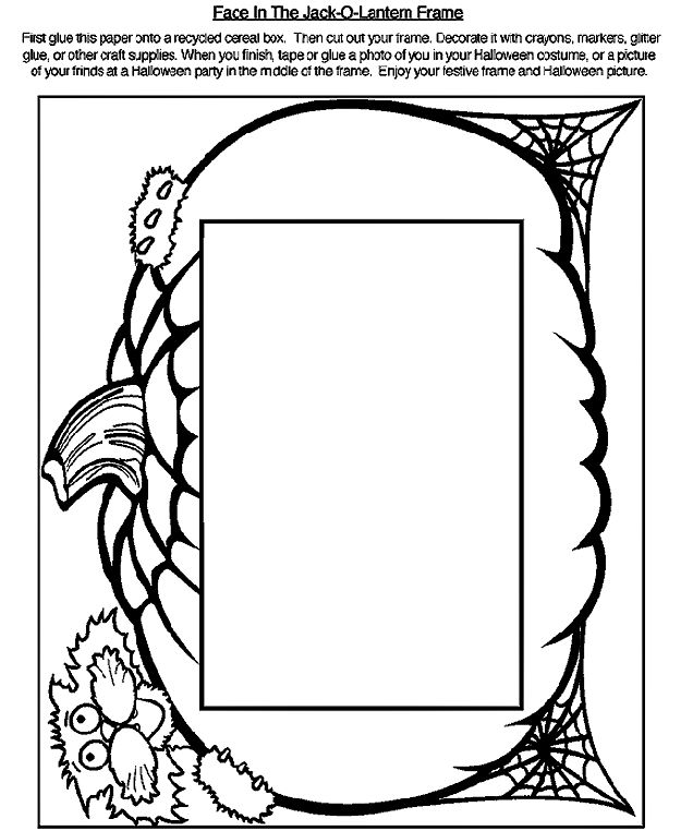 Pumpkin And Cat Frame Coloring Page