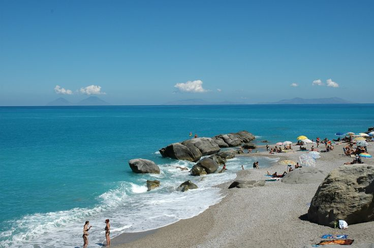 The beach at San Gregorio with the Aeolian Islands in the background
