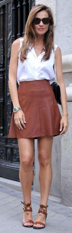 Silvia Zamora + mini skirts + gently flared Zara mini skirt + tucked in top + killer matching heels + mini outfit + polished and pretty style.  Mini skirt: Zara, Top: Zara, Shoes: Zara, Purse: Valentino, Sunglasses: Fendi