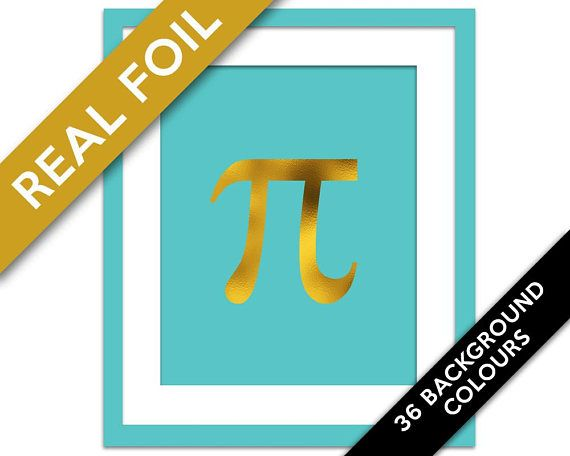 Pi Symbol Gold Foil Art Print - Math Poster Decor - Teacher Gift - Geekery - Mathematical Sign - Science Scientific - Greek Letter Geometry