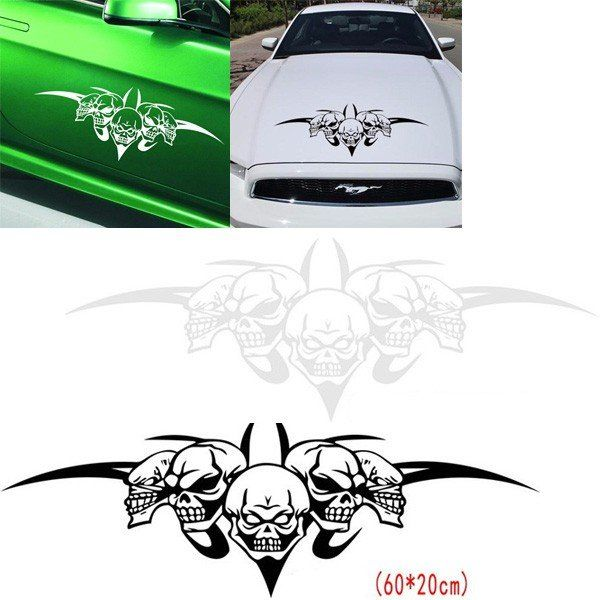 Best Car Accessories Images On Pinterest Car Accessories - Custom vinyl decals for car hoodsfull color graphic vinyl sticker decal skull ghost fit car hood