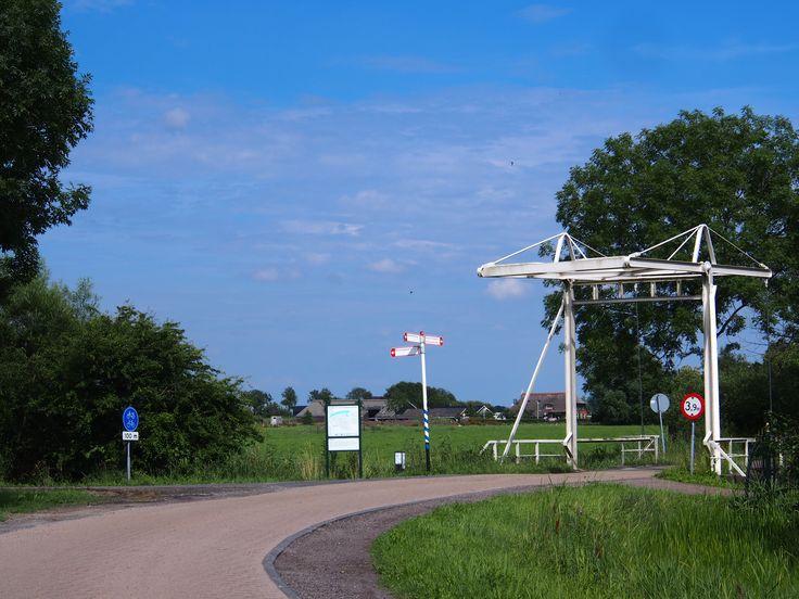 Een fietspad naar Buitenpost. Friesland. The Netherlands