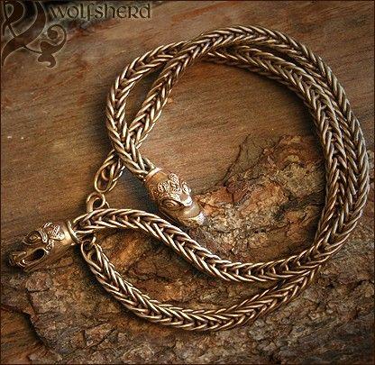 Bronze Viking Necklace . Chain . Dragon Heads . Replica
