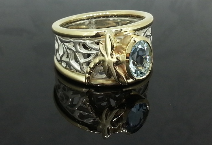 Dragonfly Ring - Handmade in 9ct gold and sterling silver with oval Aquamarine.