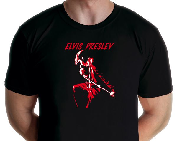 Elvis Presly - Rocking Elvis T-shirt Design by graphic artist Jarod Available from www.rocknprint.nl
